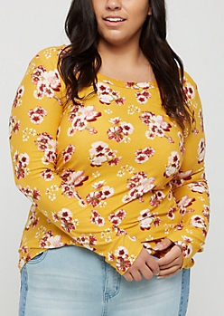 Plus Mustard Floral Soft Brushed Long Sleeve Shirt