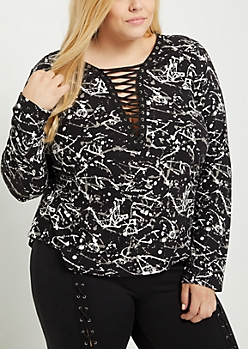 Plus Paint Splattered Lace Up Soft Brushed Shirt