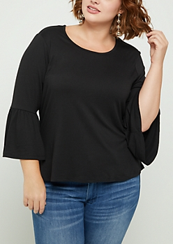 Plus Black Ruffled Bell Sleeve Top