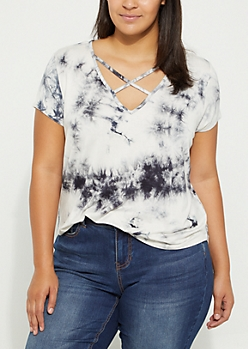 Plus Black Crystal Tie Dye Cross Strap Tee