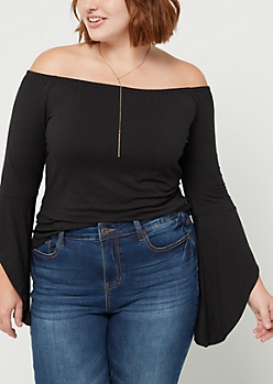 Plus Black Bell Sleeve Off Shoulder Top
