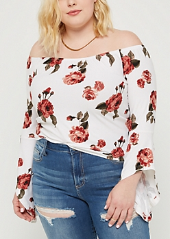 Plus Floral Bell Sleeve Off Shoulder Top