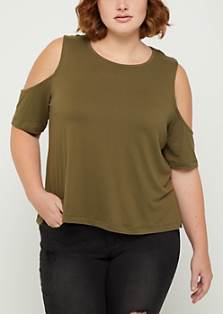 Plus Olive Soft Knit Cold Shoulder Shirt