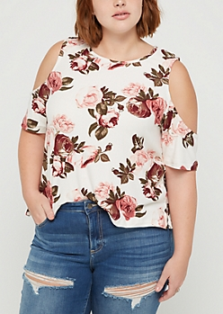 Plus Ivory Floral Soft Cold Shoulder Shirt