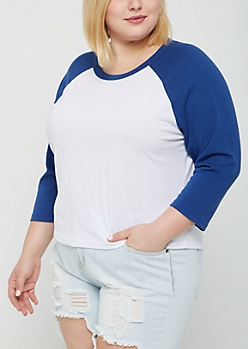 Plus Blue Raglan Crop Tee