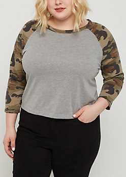 Plus Camo Raglan Crop Tee