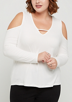 Plus Ivory Soft Brushed Cold Shoulder Top