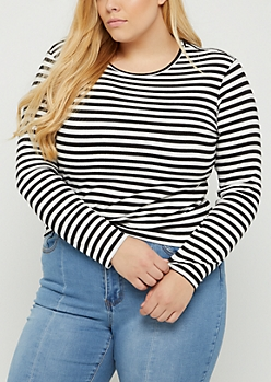 Plus Black & White Striped Long Sleeve Crop Top