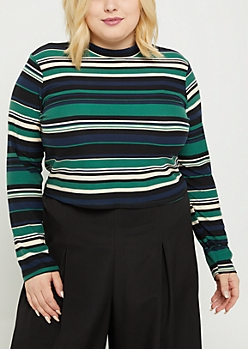 Plus Green Striped Mock Neck Crop Top