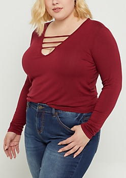 Plus Burgundy Strappy Long Sleeve Crop Tee