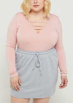 Plus Pink Strappy Long Sleeve Crop Tee