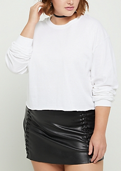 Plus White Long Sleeve Crop Tee
