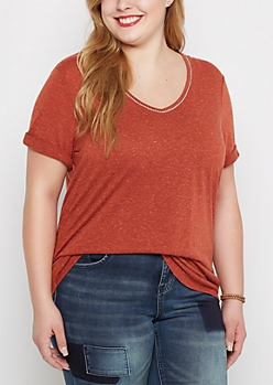 Plus Oatmeal Rhinestone V-Neck Tee