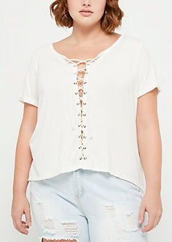 Plus Ivory Lace Up Tee
