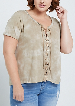 Plus Tan Tie Dye Lace Up Front Tee