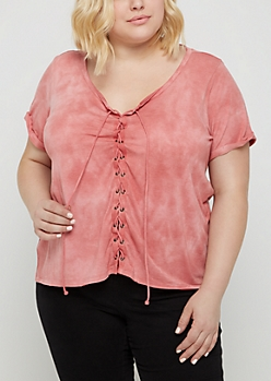 Plus Pink Tie Dye Lace Up Front Tee