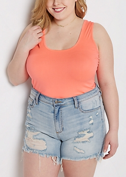 Plus Neon Coral Soft Knit Tank Top