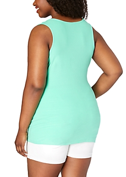 Plus Light Green Soft Brushed Solid Tank