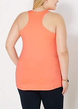 Plus Neon Orange Soft Brushed Tank Top