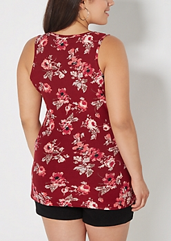 Plus Burgundy Rose Soft Brushed Tank Top