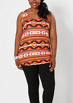Plus Orange Sunset Aztec Brushed Tank