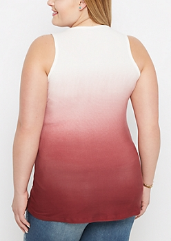 Plus Burgundy Ombre Soft Knit Tank Top