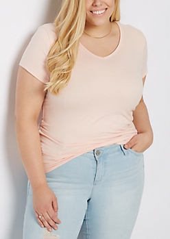 Plus Light Pink Soft Brushed V Neck Tee