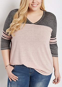 Plus Pale Pink Color Block Gridiron Tee