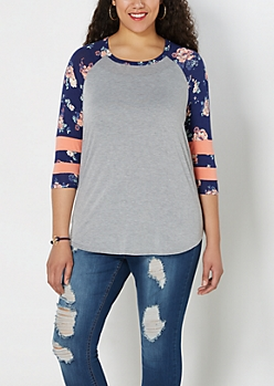 Plus Floral Athletic Striped Baseball Tee