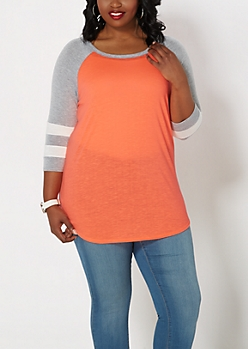 Plus Gray & Coral Baseball Tee