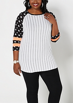 Plus Tossed Star Striped Baseball Tee