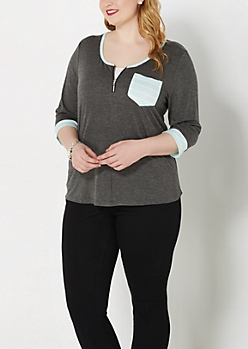 Plus Charcoal Gray Striped Zip Yoke Top