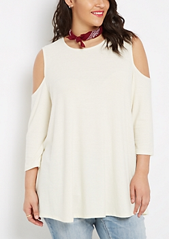 Plus Ivory Cold Shoulder Swing Top