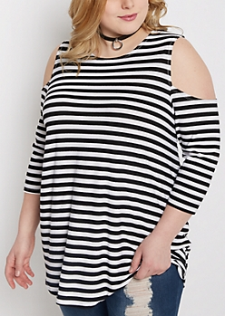 Plus Black Striped Cold Shoulder Swing Top