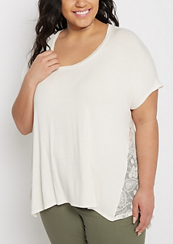 Plus Cream Lace Medallion Swing Tee