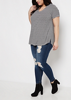 Plus Pencil Striped V-Neck Tee