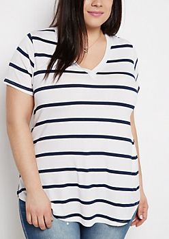 Plus Navy Striped V-Neck Tee
