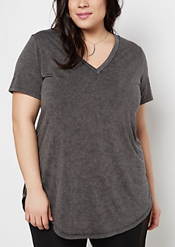 Plus Charcoal Vintage Washed V-Neck Tee