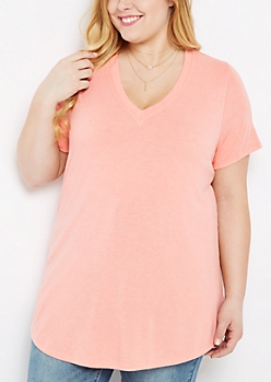 Plus Coral Vintage Washed V-Neck Tee
