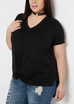 Plus Black V-Neck Tee
