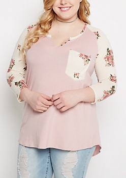 Plus Pink Rose Raglan Henley Shirt