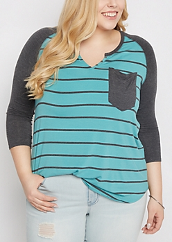 Plus Mint & Navy Striped Henley Shirt