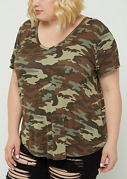 Plus Camo V-Neck Favorite Tee