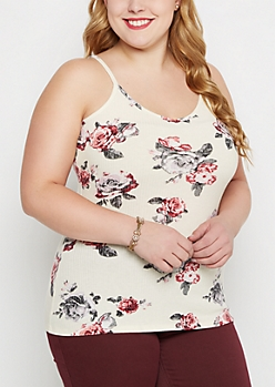 Plus Ivory Rosy Rib Knit Tank Top