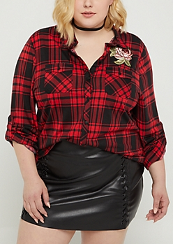 Plus Red Plaid Embroidered Rose Shirt