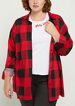 Plus Red & Black Buffalo Plaid Boyfriend Shirt
