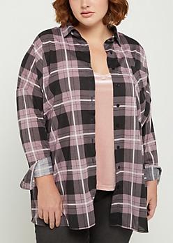 Plus Lavender Tartan Plaid Boyfriend Shirt