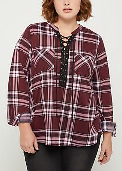 Plus Purple Plaid Lace Up Shirt
