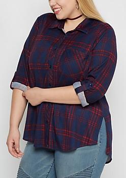 Plus Navy Plaid Soft Flannel Shirt