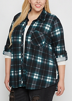 Plus Teal Plaid Soft Flannel Shirt